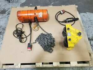Cm 1 2 Ton Electric Hoist With A 1 Ton Beam Roller And Removable Pendent