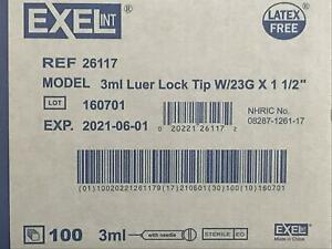 Brand New Exel Luer lock 3ml 3cc 23g X 1 5in 1 Box Of 100 26117 Exp 2023