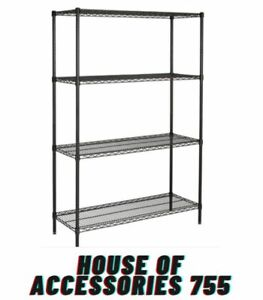 Hyper Tough 4 shelf Wire Shelving Unit With Shelf Liners And Casters Black New