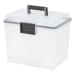 Iris Weather tight Mobile Document And File Box Clear