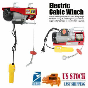 200 800kg Electric Cable Winch Lift Overhead Hoist With 12 Meters Wire Rope 110v