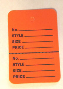 300 Orange 2 75 x1 75 Large Perforated Unstrung Price Consignment Store Tags
