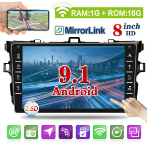 For Toyota Corolla 2007 2012 8 Android 9 1 Car Stereo Gps Wifi Radio Mp5 Player