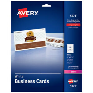 Avery Laser Microperforated Business Cards 2 X 3 1 2 White Pack Of 250