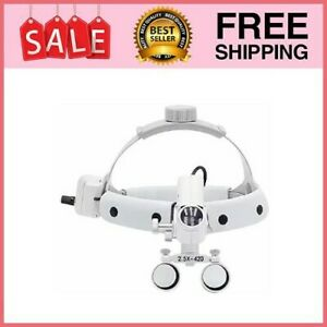 5w Led Surgical Headlight Leather Headband Loupe With Light 2 5x420mm Dy White