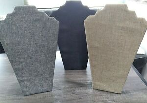 Lot Of 3 Fabric Covered Jewelry Necklace Display Stands