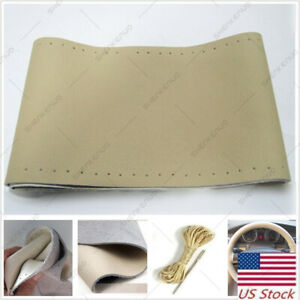 1pc Genuine Leather Auto Car Steering Wheel Cover With Needles And Thread Beige