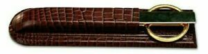 New Dacasso Brown Crocodile Embossed Leather Library Set