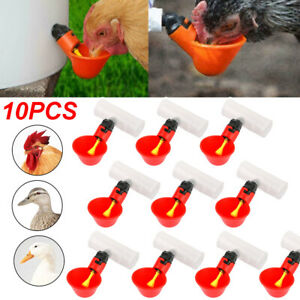 10x Poultry Water Drinking Cups pipe Fitting Chicken Automatic Drinkers Coop Us