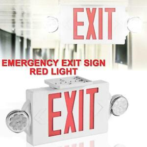 2 Pack Red Led Exit Sign Emergency Light hi Output Compact Combo Ul Listed Us