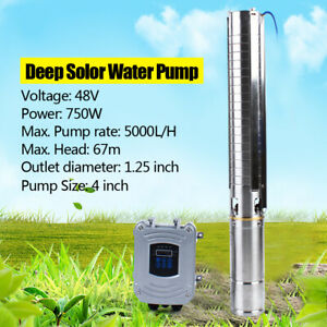 4 Deep Bore Well Solar Water Pump 48v 1hp Submersible Mppt Controller Kit 67m