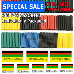 360 Pcs 2 1 Heat Shrink Tube Tubing Sleeving Wrap Wire Cable Insulated Assorted