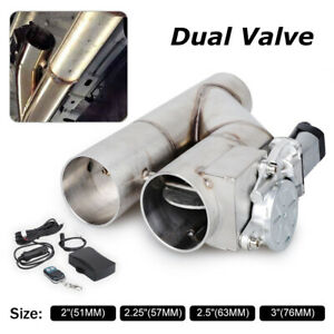 3 76mm Electric Exhaust Downpipe Cutout E Cut Out Dual Valve Remote Control