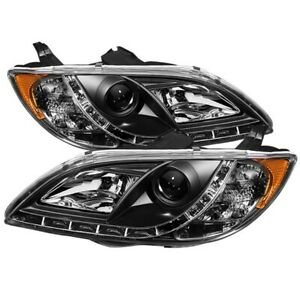 Fits Mazda 3 2004 2008 4dr Sedan Projector Black Headlights With Drl Led