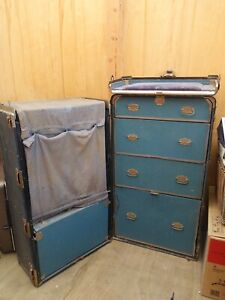 Vintage 1900 S Wheary Brand Cushion Top Wardrobe Steamer Trunk Titanic Style