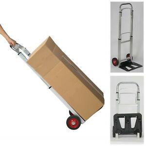 330lb Aluminum Hand Truck Dolly Cart Folding Push Collapsible Warehouse Trolley