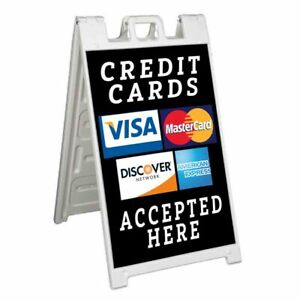 Credit Cards Accepted Here Signicade 24x36 Aframe Sidewalk Sign Banner Decal