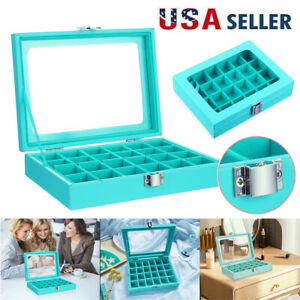 Jewelry Box Necklace Ring Earring Organizer Case Velvet 24 Section Teal Blue