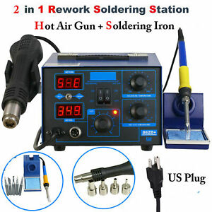 862d 2 in 1 Smd Rework Station Hot Air Gun Soldering Iron Electric Power 700w Us