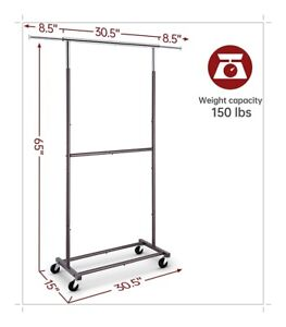 Heavy Duty Commercial Garment Rack Rolling Collapsible Clothing Double Bronze