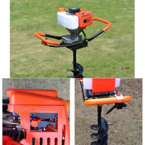 Gas Powered Post Hole Digger With 4 6 8 inch Digging Auger Drill Bit Bar 2hp