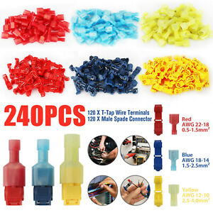 240pc T taps Wire Terminal Connectors Insulated 22 10 Awg Quick Splice Combo Kit