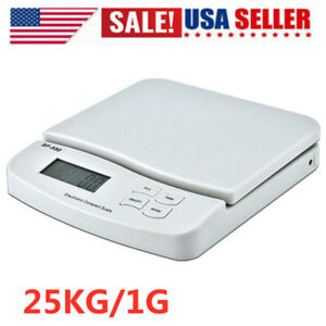 25kg 1g Digital Postal Shipping Scale Weight Postage Scale White 2x Battery