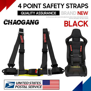 For Takata Race 4 Point Snap On 2 Racing Seat Belt Harness With Camlock Black