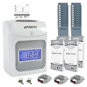 Calculating Upunch Time Clock Bundle With 200 Cards 3 Ribbons 2 Time Card Rac