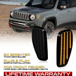Front Smoked Lens Led Amber Side Marker Lamp Pair For 2015 2021 Jeep Renegade