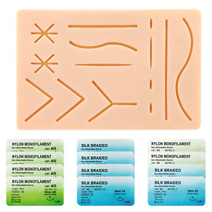 Suture Kit For Students Silicone Pad With Pre cut Wounds Threads Needles