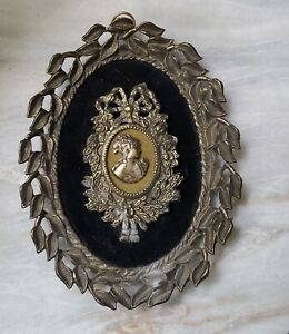 Vintage Ea Riba Co Brooklyn Ny Style 41 Framed Lady Picture Brass Wall Hanger