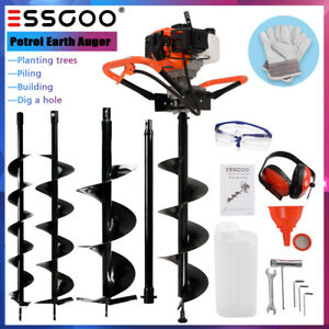 52cc Earth Auger 2 stroke Gas Powered Post Hole Digger Machine 4 6 8 Bits