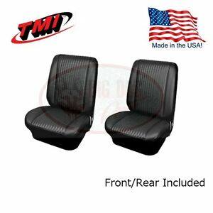 1964 Chevelle Coupe Black Bucket Seat Rear Bench Upholstery By Tmi In Stock