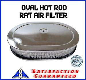 12 Chrome Oval Hot Rod Rat Breather Cleaner Air Filter Kit Fits Ford Chevy Sbc