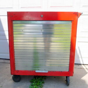 Vtg 1960s Red Snap On Toolbox Tool Box Cabinet Chest Rollabench Nebraska Pick Up