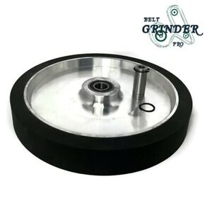 12 Smooth Black Rubber Contact Wheel Dynamic Balance For Belt Grinder