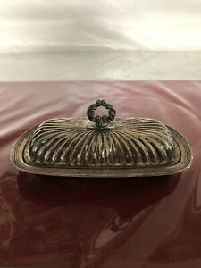 Vintage Ornate Silver Plate Butter Dish With Glass Tray Insert Silver Plate Tray