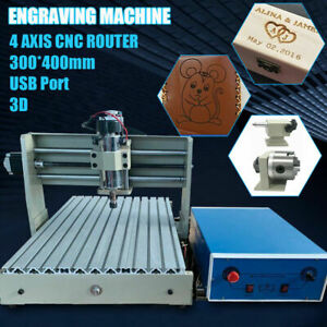 3040 Router 4 Axis Milling Engraving Drill Machine Cutter 400w Usb Port Rc