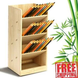 Bamboo Wood Desk Pen Pencil Holder Stand Storage Organizer With 4 Compartments