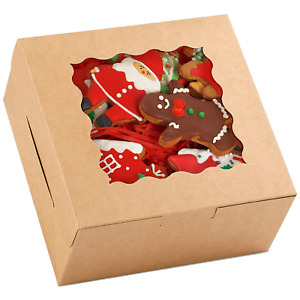 Moretoes 48pcs 6 Inch Brown Cookie Boxes 6x6x3 Inches With Window Kraft Paper Ba