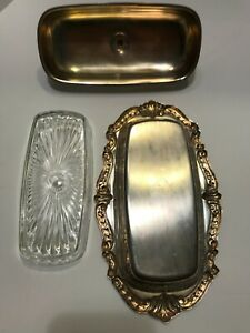 Vintage Tauton Silversmiths Silver Plate Butter Dish With Glass Tray Insert
