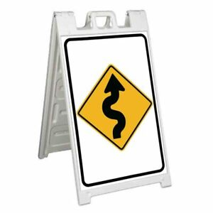 Winding Road Right Signicade 24x36 Aframe Sidewalk Sign Banner Decal Street