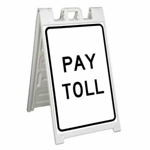 Pay Toll Signicade 24x36 Aframe Sidewalk Sign Banner Decal Street Road