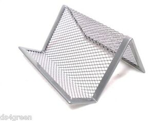 Business Card Holder Office Desk Metal Wire Mesh Display Stand Silver