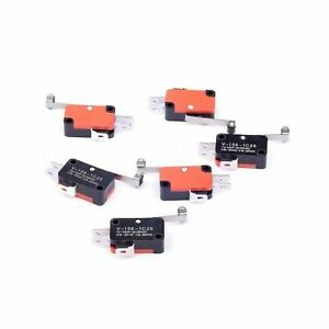 6pcs V 156 1c25 Micro Limit Switch Long Hinge Roller Momentary Spdt Snap Action