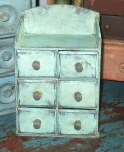 Tiny Vintage 6 Drawer Spice Notions Cabinet Box Cupboard Chest Blue Paint