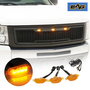Eag Replacement Led Grille Upper Black Grill Fit 2007 2013 Chevy Silverado 1500
