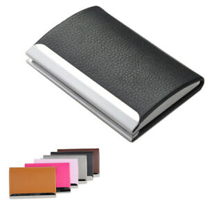 Holder Id Card Box Pu Leather Aluminum Wallet Business Name Stainless Men