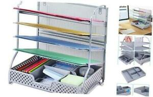 5 trays Mesh Desk File Organizer Vertical Document Letter Tray Wall Silver